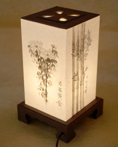 Mulberry Rice Paper White Shade Handmade Four Noble Flower Plant Painting Design Square Brown Lantern Asian Oriental Decorative Bedside Bedroom Home Decor Accent Table Light Lamp, By Antique Alive Paper Lamp // $99.95  Features: - Soft and comforting natural light through Hanji, Korean mulberry paper, to soothe you body and mind - Made only by hand after an arduous, time-consuming manufacturing process - Touch button for th...-  -  BTW, you may want to visit…