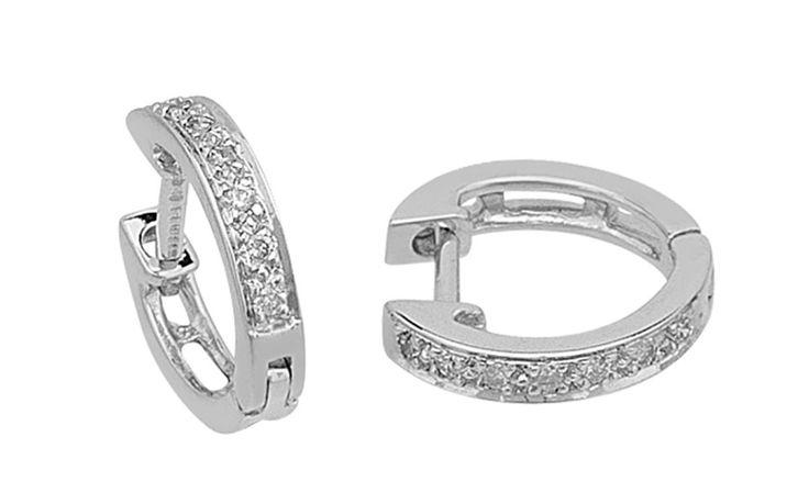 Diamant Creole Ohrringe, 750er 18K Weißgold
