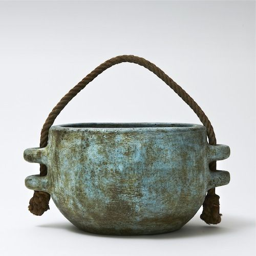 Les 2 Potiers, France, ca. 1950–60; large cachepot with original rope, decorated with water-green and blue slips