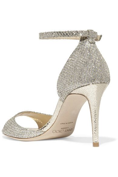 Jimmy Choo - Tori Embellished Glittered Leather Sandals - Gold - IT