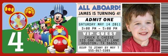Mickey Mouse Train Ticket Invite