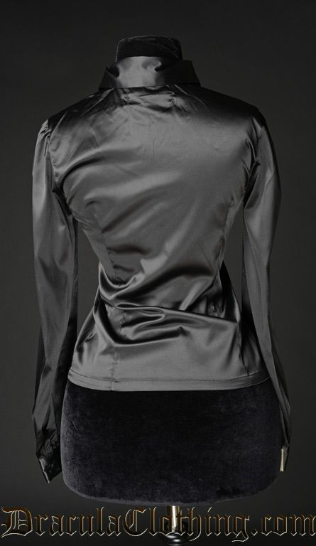 Black Satin Marquess Blouse - Blouse and Tops - Ladies Clothing