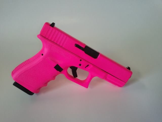 Totally digging the hot pink! Hot Pink Glock 19 Gen3 9mm Pistol - www.tzarmory.com I'll just bedazzle it :) right mike