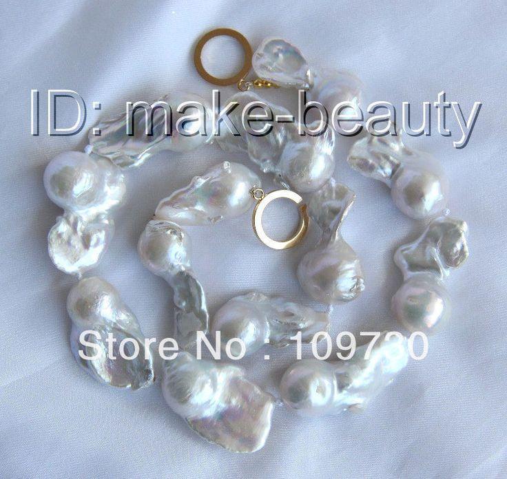Ювелирные изделия 0011811 потрясающий большой барокко белый кеши возрождается пресноводные жемчужные ожерелья