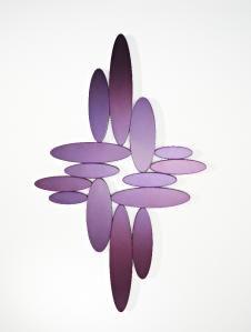 Ovals Frameless Shaped Cross Bubble Pebble (Purple) Wall Mirror by Deknudt Mirrors