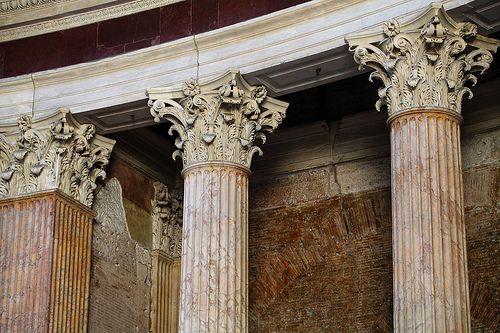 Corinthian capitals inside the Pantheon, Rome | Corinthian ...