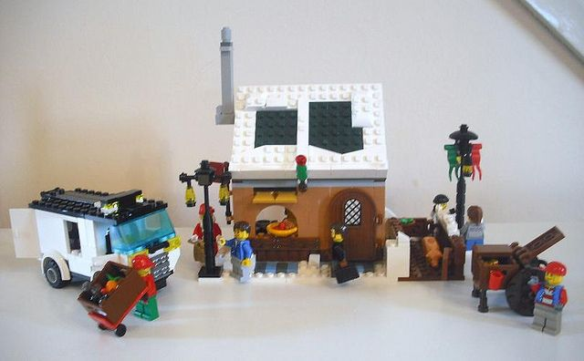 Winter Village Expansion - Hot Sausage Shop with Xmas Hamper Delivery Van, Roast Chestnut Seller & Snowball Fighters | Flickr - Photo Sharing!