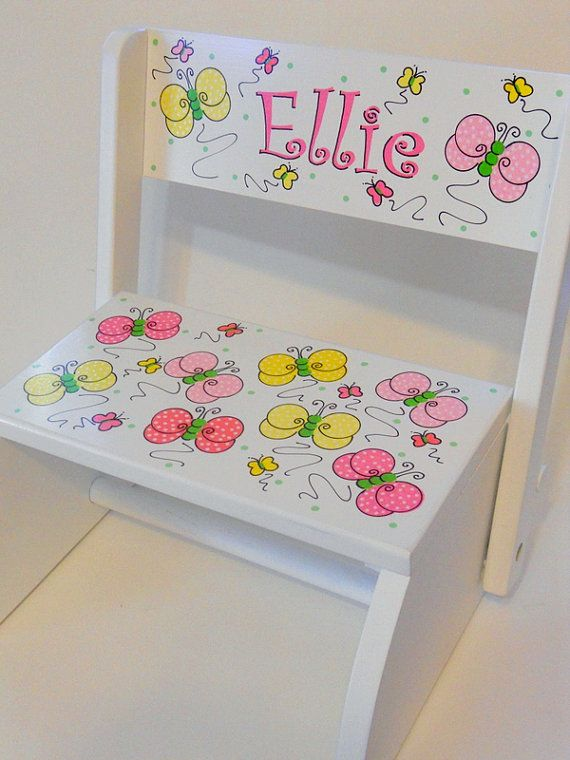 Child's Flip Stool Pink and Yellow by LittleWhiteDogStudio on Etsy, $49.00