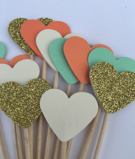 Coral Mint Gold Cream Cake Toppers Cupcake by EclecticNessy