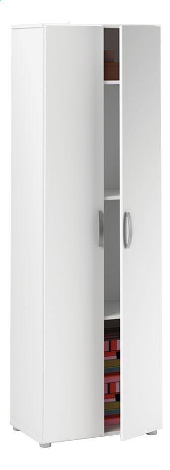Klassiek maar handig: dat is de opbergkast Cobi met wit decor. Ideaal voor kleren, beddengoed of handdoeken.
