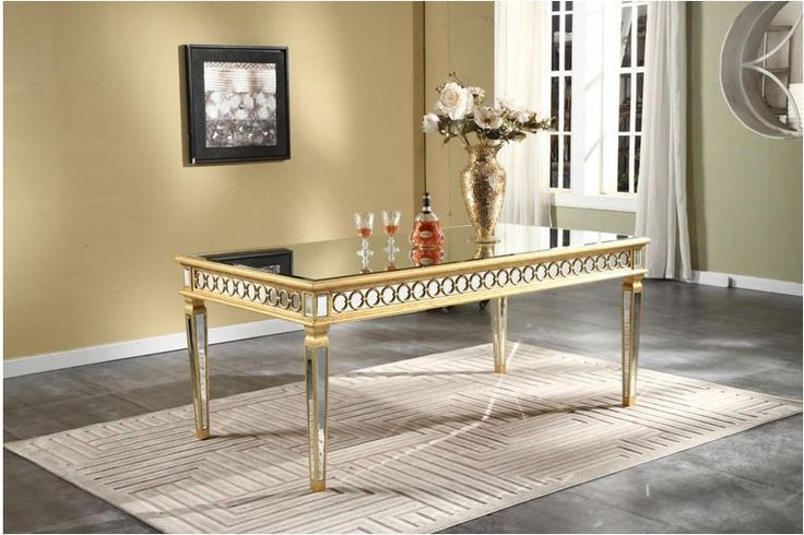 Modern Stylish 38 Quot Width Mirrored Dining Table In Gold