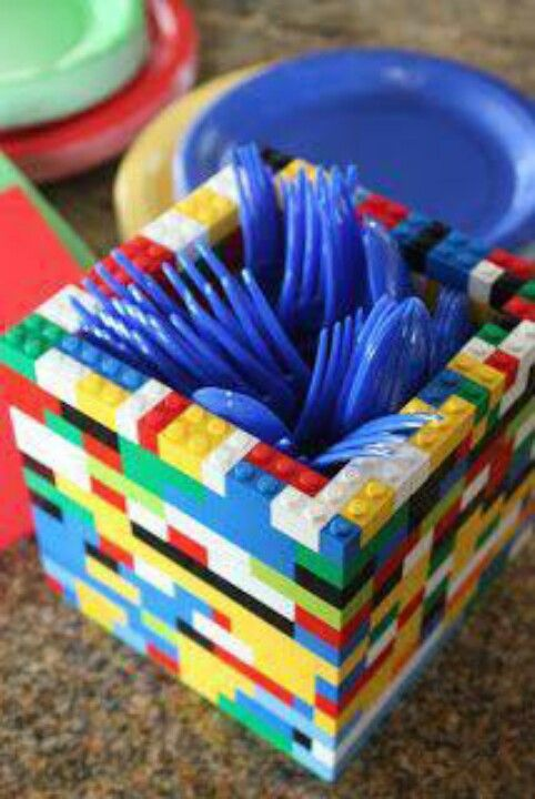 Silverware holder for a boys birthday Lego party