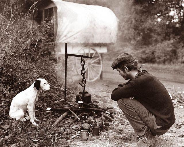 gypsy man and dog