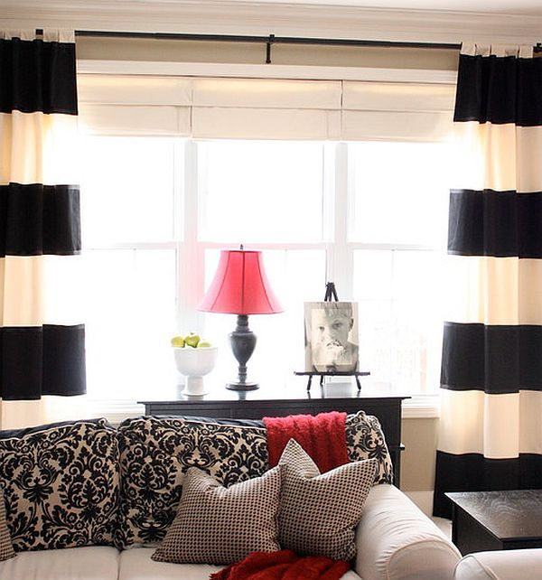 Best Curtains Drapes And Shades Images On Pinterest Curtain - Creative black and white patterned curtains ideas