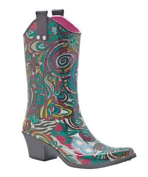 Loving this Pink & Teal Art Fusion Cowboy Rain Boot on #zulily! #zulilyfinds