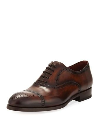 Two-Tone Lace-Up Dress Shoe by Magnanni for Neiman Marcus at Neiman Marcus.