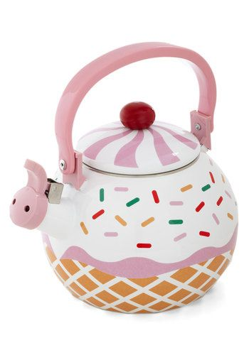 Care for a Cupcake? Tea Kettle - Multi, Quirky, Better, Pink, Tan / Cream, White, Novelty Print
