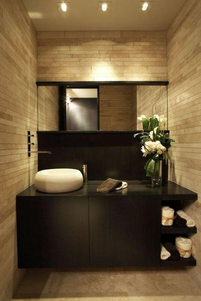 vasque beige salle de bain carrelage rectangulaire, vasque blanche et meuble sous évier noir