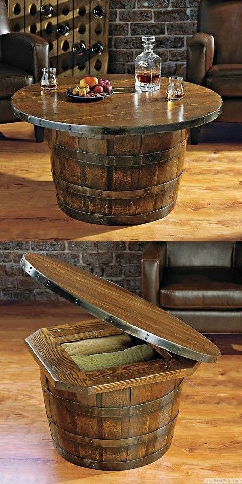 Superb Barrel Entertaining Table With Storage