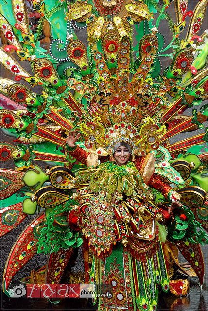 #PINdonesia <3 An Indonesian costume at the Ethno Carnival 2012. The details on this costume is amazing! This costume seemed to be inspired by the diverse flowers and beautiful nature in Indonesia.