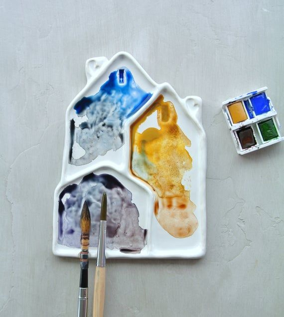 Watercolor Palette Clay Houses Ceramic Mixing Palette For Watercolor Painting Acrylic Gouache Gifts For Painters Watercolor Palette Watercolor Paintings Ceramic Artists