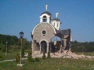 Serbian church destroyed in Kosovo i Metohija
