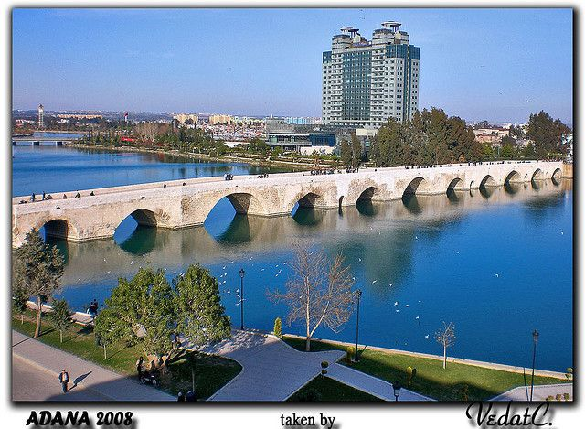 Stone Bridge and Seyhan River in Adana, TURKEY