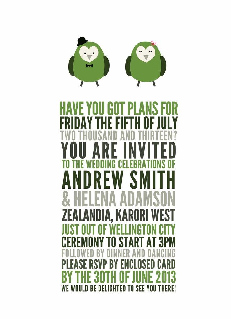 KAKAPO New Zealand Native Bird Wedding Invitation Template. via Etsy.