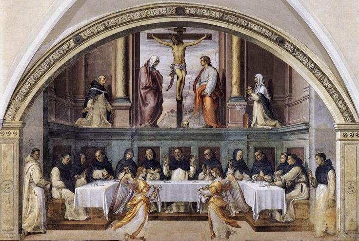 Giovanni_antonio_sogliani,_san_domenico_e_i_frati_serviti_dagli_angeli. Джованни Антонио Sogliani, San Domenico и монахи, которым служили ангелы. 1536 г.