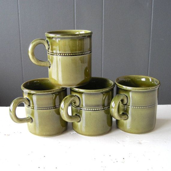 Vintage Höganäs Set of Four Espresso Cups Glossy Green Glazed