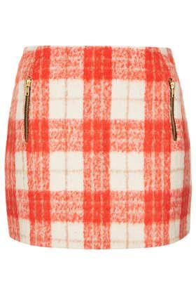 Orange Wool Check Skirt - Topshop