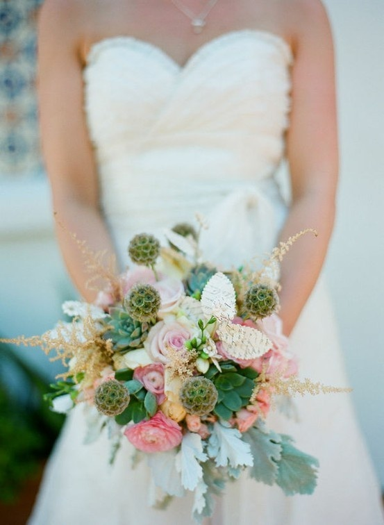Soft, muted pastel colours I love the sage lotus pods blushing-bridal-bouquets
