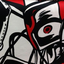 Katoen abstracte vissen - stoffenhuis PW Hoofs - stoffen fabrics