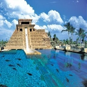This is a water ride at the Atlantis hotel in the Bahamas. Glide right into shark-infested waters?