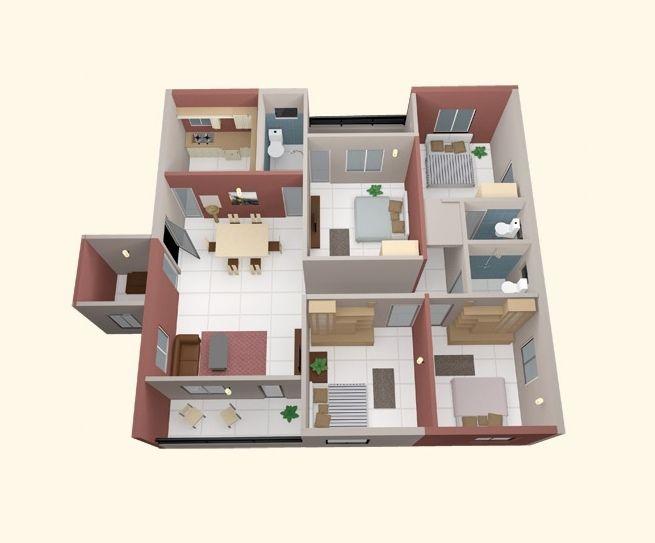 plano-de-casa-con-dormitorios-elehantes-40 | housis | Pinterest | 4).
