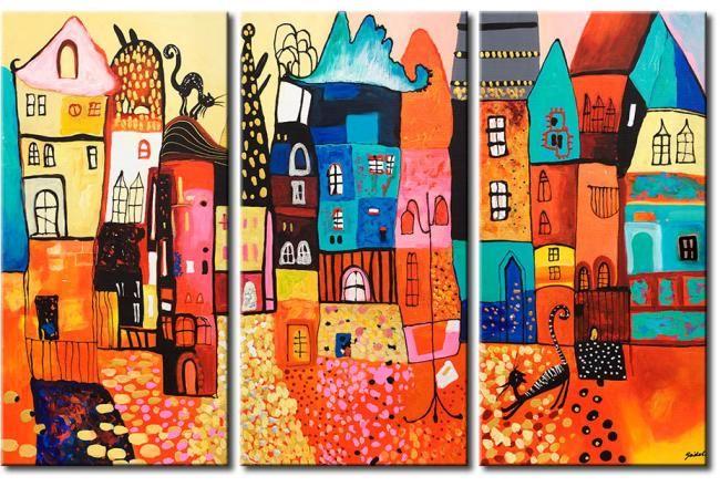 Cuadro Casas coloridas #cuadro #cuadros #infantiles