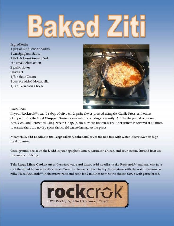 Baked ziti in you RockCrok from The Pampered Chef