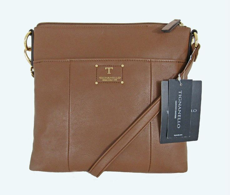 "TIGNANELLO ""Bella"" Smooth Saddle Leather Crossbody Converts to Shoulder Bag NWT #Tignanello #MessengerCrossBody"