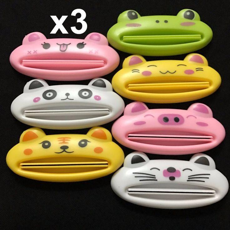 3 Unids/set Baño Casa Tube Holder Balanceo Exprimidor Fácil Dispensador de Pasta de dientes de Dibujos Animados cepillo de Dientes Titulares