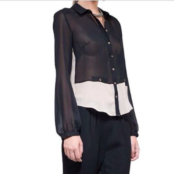 Lumier by Bariano sheer black and nude top Lumier by Bariano two toned sheer button-down top. Brand new with tags. Size XS. Lumier Tops