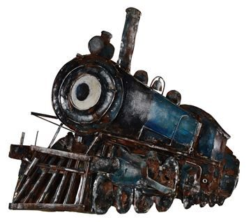 $149, Monorails Wall Art W6293,14'' x 14'' x 9'', The gilded finish of this 3D hand-painted locomotive metal wall art evokes the industrial style of the Machine Age.