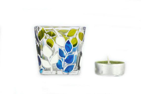 Hand bemalt Glas Kerze Halter Tee Licht Mini Kerze Halter handbemalte Glas Glasmalerei weiß und blau lässt Wohnkultur