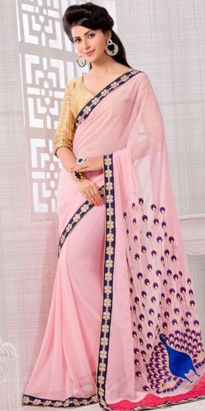 Loveable Pink Saree With Nice-looking Embroidered Pallu