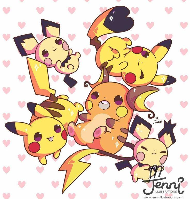 Pikachu family (ノ)'w`(ヾ)💖💕  .  .  .  #pichu #pikachu #raichu #pokemon #pikachufamily #chibi #jenniilustrations #jennillustrations