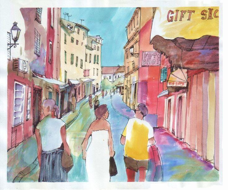 Rovinj, Croatia. Watercolor and ink.