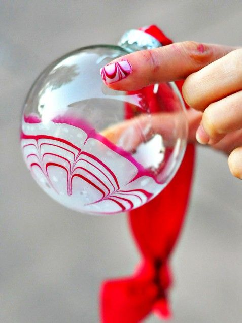 Candy Cane Marbled Ornament