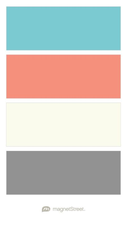 Turquoise, Coral, Ivory, and Classic Gray Wedding Color Palette - custom color palette created at MagnetStreet.com