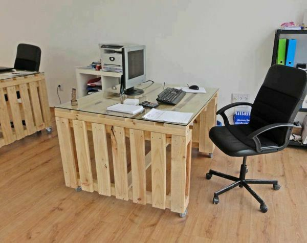 diy m bel europaletten home office gestalten schreibtisch. Black Bedroom Furniture Sets. Home Design Ideas