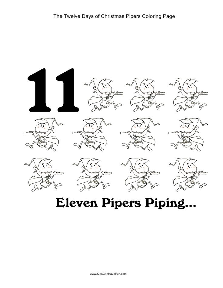 12 Days Of Christmas Eleven Pipers Piping Coloring Page Twelve Days Of Printable Coloring Pages
