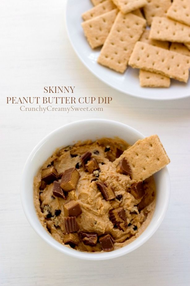 Skinny Peanut Butter Cup Dip - this 4 ingredient dip may look indulgent, but it's lightened up with Greek yogurt and has no added sugar!